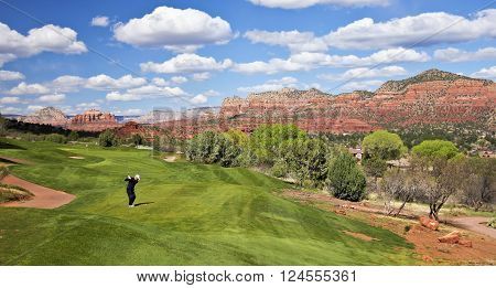 SEDONA, ARIZONA, MARCH 8. The Sedona Golf Resort on March 8, 2016, in Sedona, Arizona. A Golfer Prepares to Drive the Ball from the Tee Box in Sedona Arizona