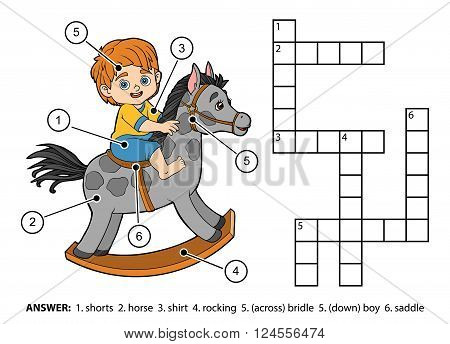 Vector Color Crossword. Little Boy On A Rocking Horse