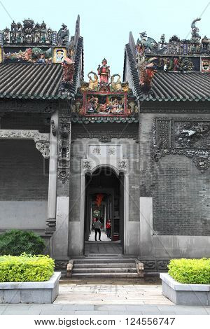GUANGZHOU, CHINA - MARCH 31, 2013: The Chen Clan Ancestral Hall on March 31, 2013 in Guangzhou, China. It is a historic landmark ancestral temple and study place for imperial examination in China.