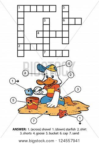 Vector Color Crossword. Small Goose On The Beach