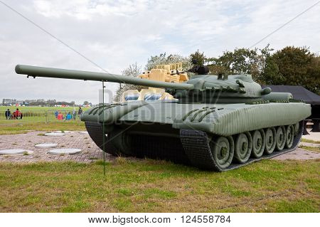 LEEUWARDEN NETHERLANDS - SEP 17 2011: Real sized inflatable dummy tank. Intended to be mistaken by an enemy for a real tank.