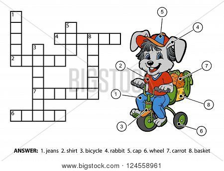 Vector Color Crossword. Little Rabbit Riding A Bicycle