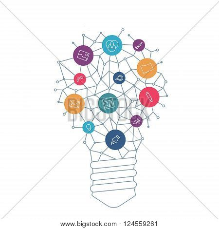 Ideas for UX designer. Tools and services for network designers. Light bulb with icons in flat style for UX tools programs slides. Vector illustration concept of UX thought and UX enlightenment.