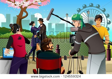 A vector illustration of movie production scene