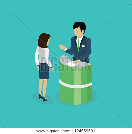 Isometric consultation icon isolated design flat. 3D business consulting services, consulting icon, business support service for businessman, consultant professional vector