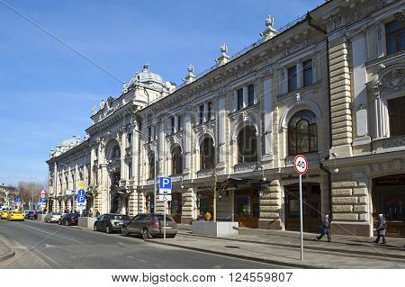 MOSCOW, RUSSIA - MARCH 28, 2016: Apartment house V.I. Firsanova (Sandunovskiye passage) Neglinnaya Street 14 the object of cultural heritage architectural monument built in 1895