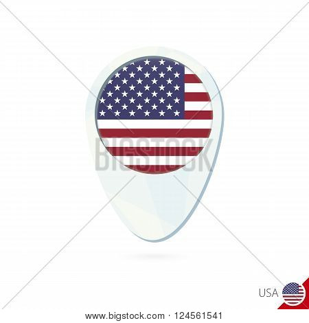 Usa Flag Location Map Pin Icon On White Background.