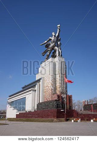 MOSCOW, RUSSIA - APRIL 4, 2016: Monument Rabochiy i Kolkhoznitsa (Worker and Kolkhoz Woman) architect Vera Mukhina landmark symbol of the Soviet epoch
