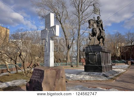 MOSCOW, RUSSIA - MARCH 14, 2016: Monument to the Holy Prince Dimitry Donskoy liberator of the Russian land landmark intersection of Nikoloyamskaya and Yauzskaya streets
