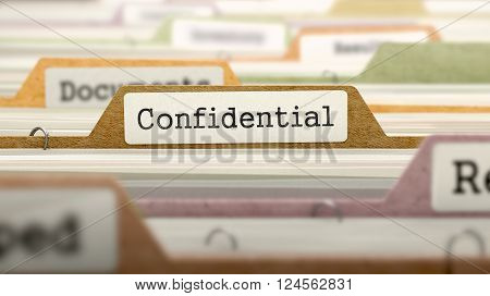 File Folder Labeled as Confidential in Multicolor Archive. Closeup View. Blurred Image. 3D Render.