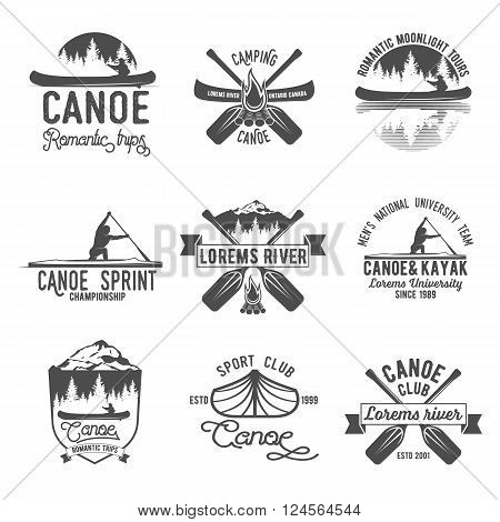Set of vintage mountain, rafting, kayaking, paddling, canoeing camp logo, labels and badges. Stylish Monochrome design. Outdoor activity theme. Summer and winter vacation insignias.