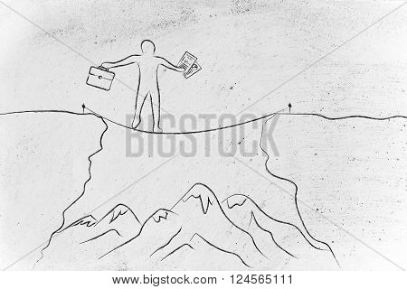 Businessman Tight Rope Walking Over A Cliff