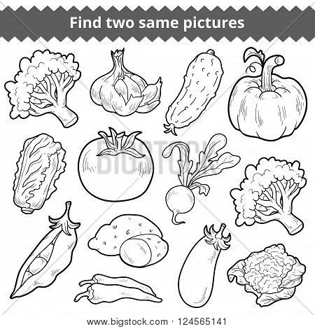 Find Two Same Pictures. Vector Set Of Vegetables