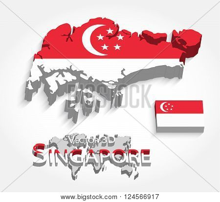 Singapore 3D, Republic of Singapore, map and flag.