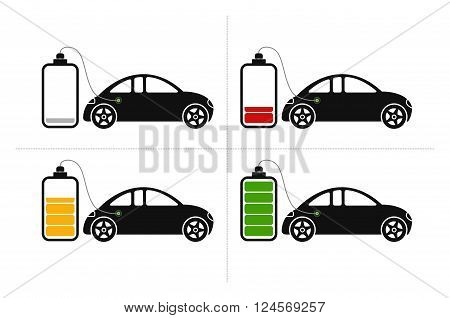 Icons with electric hybrid car loading at an accumulator in four stages like empty, low, middle and fully loaded