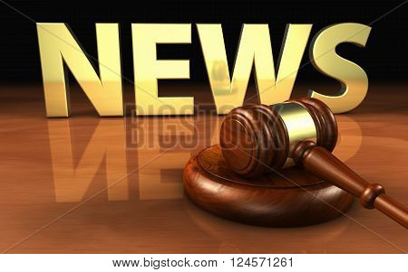 Law justice and legal news concept with a wooden gavel and the news sign and letters on background 3D illustration.