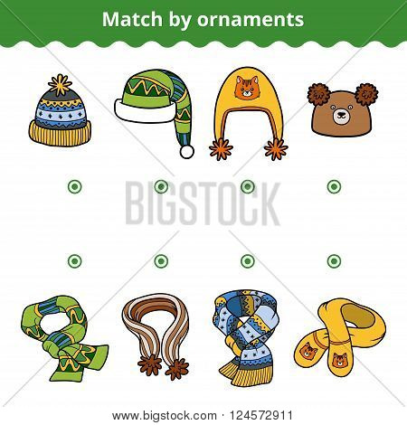 Matching Game For Children, Match The Scarves And Hats By Ornaments