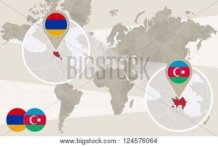World map zoom on Azerbaijan Armenia. Conflict Nagorno-Karabakh War. Azerbaijan map with flag. Armenia map with flag. Vector Illustration.