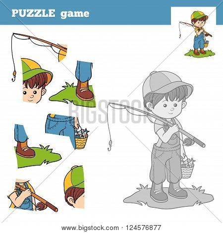 Puzzle Game For Children With The Boy Fisher