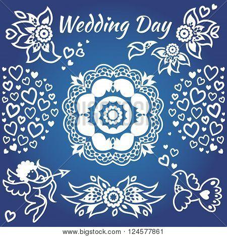 Vector Set For Wedding Invitation.