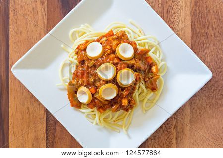 Spaghetti With Tomato Sauce And Sausage