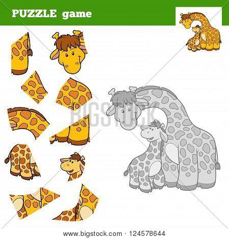 Puzzle Game For Children, Giraffe Family