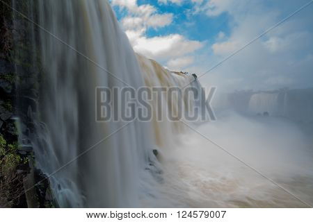 Creamy torrent of water at Iguazu Falls