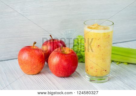 Smoothies Made From Apples And Celery In A Glass On The Table