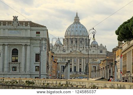 Rome, Italy - December 20, 2012: View Of St. Peter's Basilica In Rome, Italy