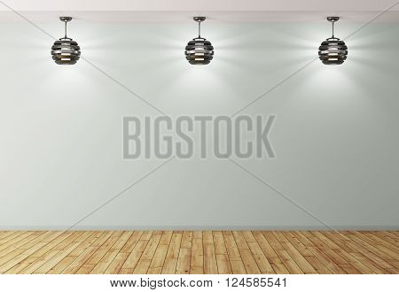 Interior Background With Lamps 3D Rendering