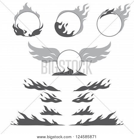 Set of vintage flame forms for create logotype, badge, emblem.