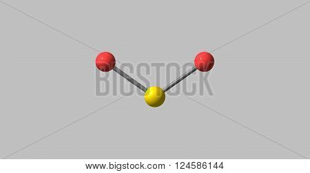 3D illustration of Sulfur dioxide or sulphur dioxide. It is the chemical compound with the formula SO2. At standard atmosphere, it is a toxic gas with a pungent, irritating smell.