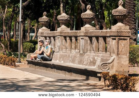 MEXICO CITY - MARCH 31: Tow men meditating on a bench in Mexico City on March 31 2013