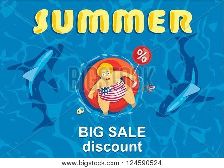 Vector illustration. Summer big discount. Shark revolves around a fat women on a mattress for swimming. Summertime and holiday shopping. Big sales. Blue sea