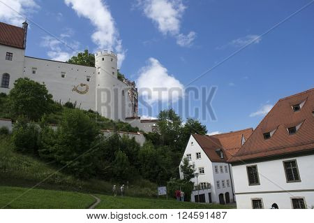 view of an ancient monastry in fussen during summer