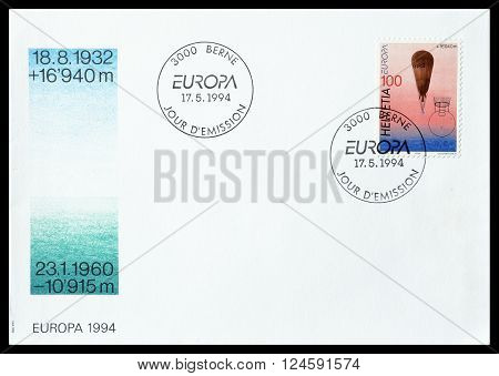 SWITZERLAND - CIRCA 1994 : First day cover letter with cancelled stamp, that shows stratosphere balloon.