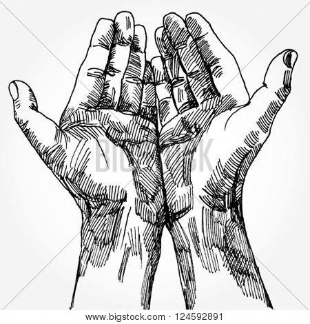 Doodled hands