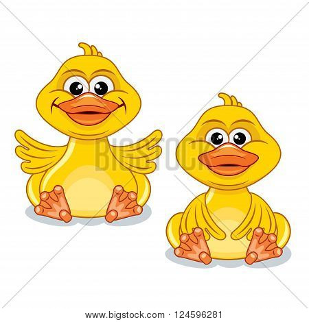 Funny Cartoon Yellow Duck. Colorful Vector Illustration