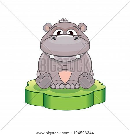 Funny Cartoon Hippo. Vector Illustration for Your Design