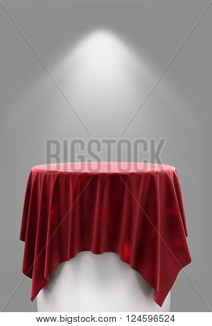 3d rendering of red velor cloth on a round pedestal on a gray background with illumination