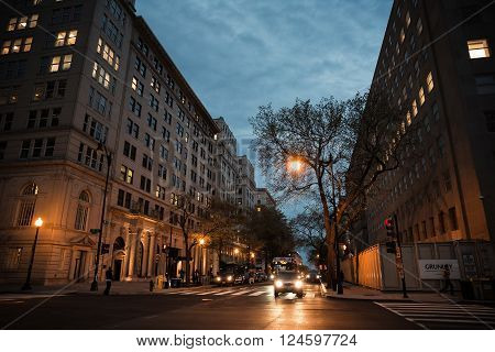 WASHINGTON D.C., USA - Mar 31, 2016: Streets and architecture of Washington DC at night. Washington is the capital of the United States