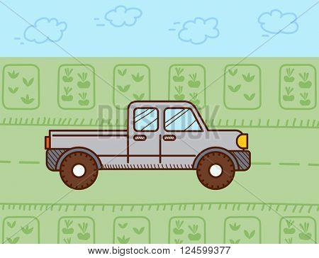 Pickup car. Vector illustration