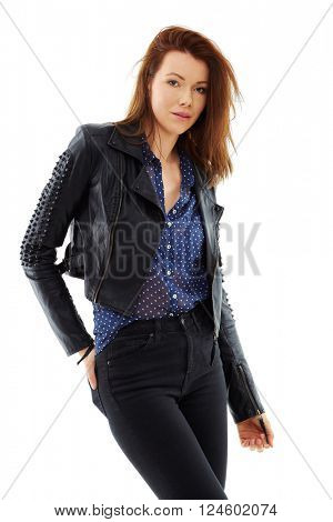 Young woman wearing black leather jacket, shoot over white background, isolated