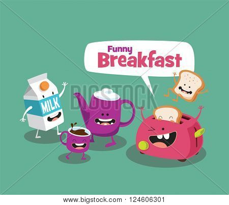 Funny breakfast set. Comic characters