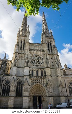 BORDEAUX FRANCE - MAY 06 2015: Bordeaux Cathedral (Cathedrale Saint-Andre de Bordeaux) is a Roman Catholic cathedral seat of the Archbishop of Bordeaux-Bazas located in Bordeaux France
