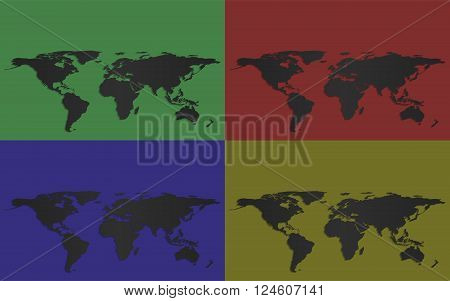 Set of four vector world maps isolated on faintly (dully) colored background
