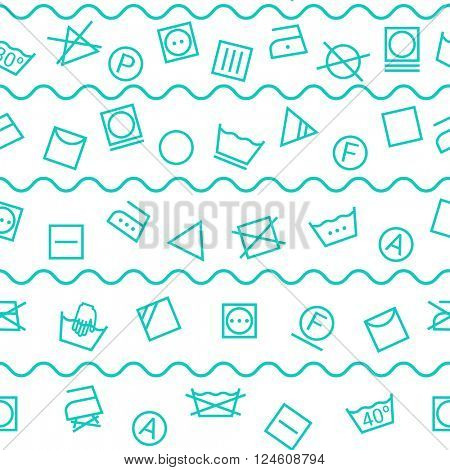 Laundry symbols isolated on white background seamless pattern