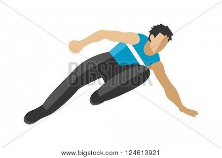 Parkour trick people extreme jumping sport cartoon vector silhouette.
