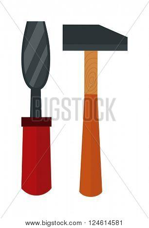 Chisel, hammer vector illustration