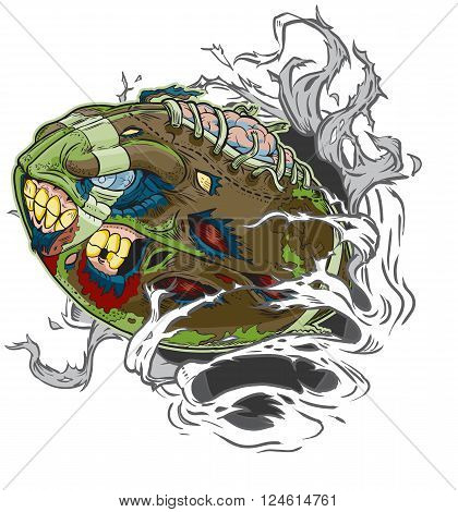 Vector cartoon clip art illustration of A Zombie Football Ripping out of the Background. Important elements are in seperate layers in the vector.